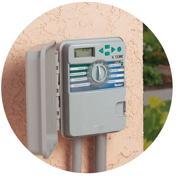 a new Hunter X timer installed during a routine Sacramento sprinkler retrofit