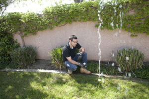 Sacramento sprinkler repair specialist examines a faulty pop up head